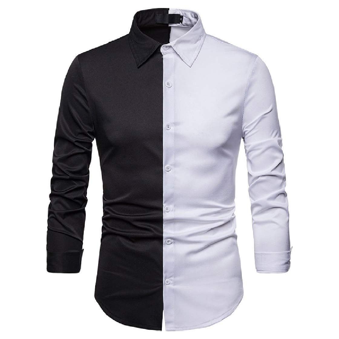 YUNY Mens Plus Size Stitching Hit Color Autumn Casual Long-Sleeve Longshirt White S