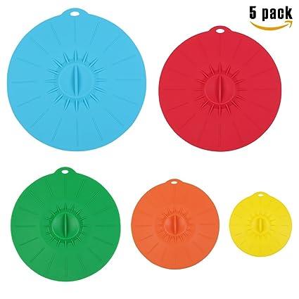Tapa de silicona Set de 5 colores sello hermético de sello fresco cubierta reutilizable fundas para