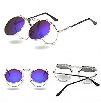 LMB Retro Metallic Punk Steam Flip Gafas de Sol Flip Gafas ...