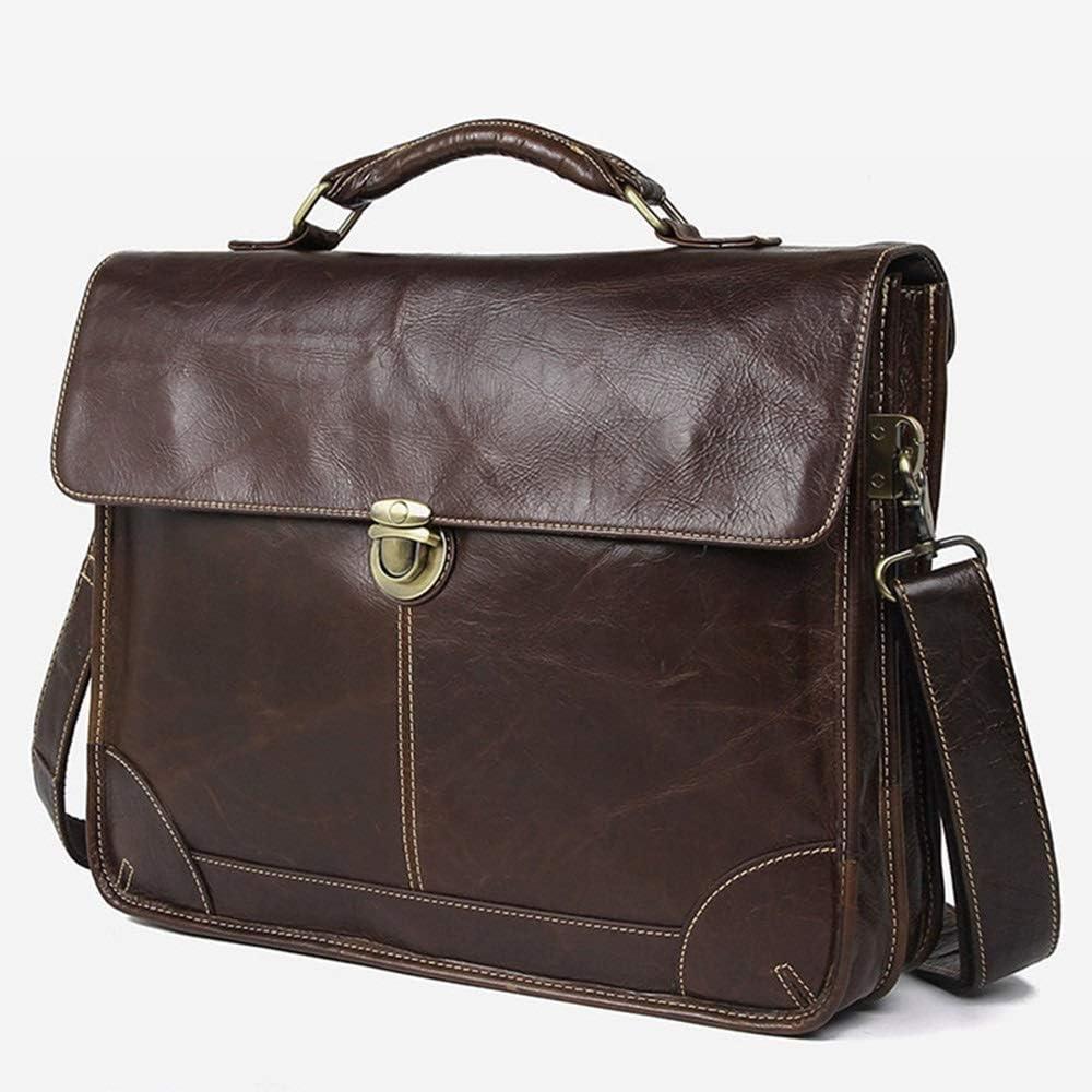Fklee Office Bag Mens Briefcase Shoulder Bag Laptop Bag Leather Messenger Business Casual Bag15.6inch Notebook Bags Mobile Phone Tablet Bag Suitable for Everyday use