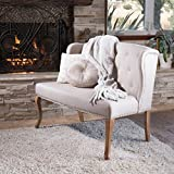 Christopher Knight Home 238516 Adrianna Wingback Button-Tufted Fabric Loveseat, Natural Plain