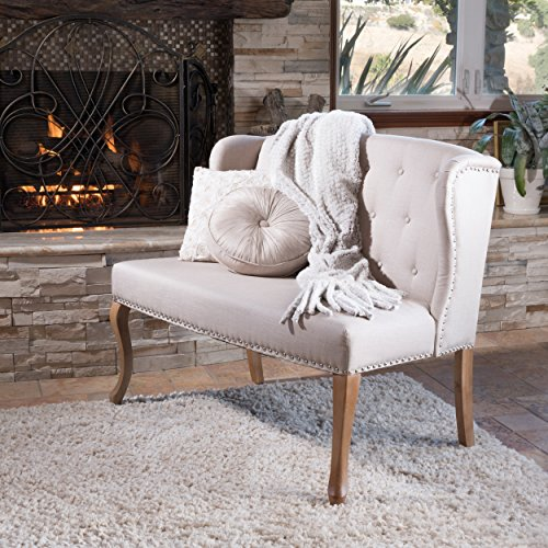 (Christopher Knight Home 238516 Adrianna Wingback Button-Tufted Fabric Loveseat, Natural)