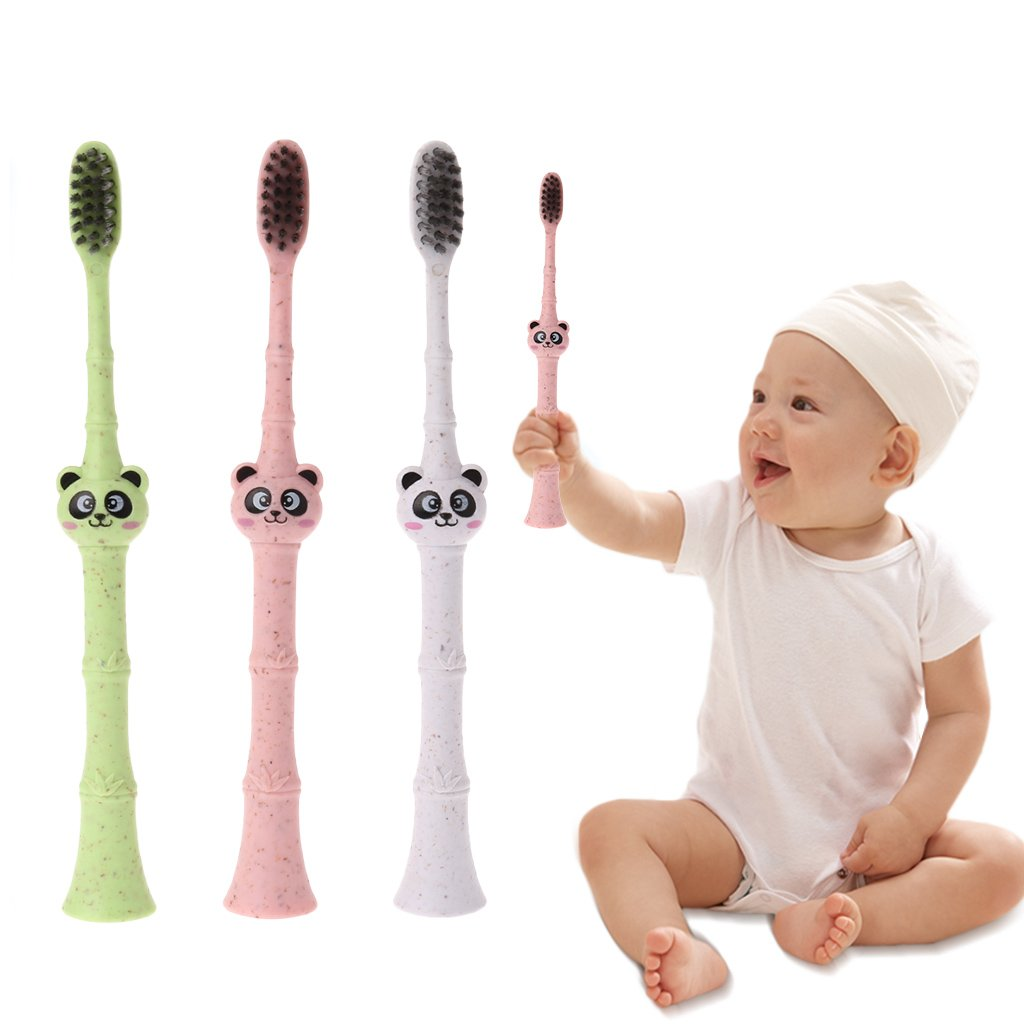 Junlinto, Bebé Cepillo de Dientes Fibra de bambú Dibujos Animados Panda Niños pequeños Recién Nacidos Dental Cuidado Oral Color de Forma aleatoria: ...