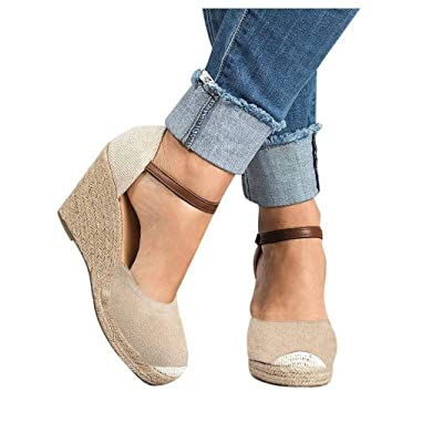 Frunalte Women Wedges Sandals,Fashion Buckle Strap Flock Wedges High Ankle Outdoor Sandals Round Toe Casual Shoes: Clothing