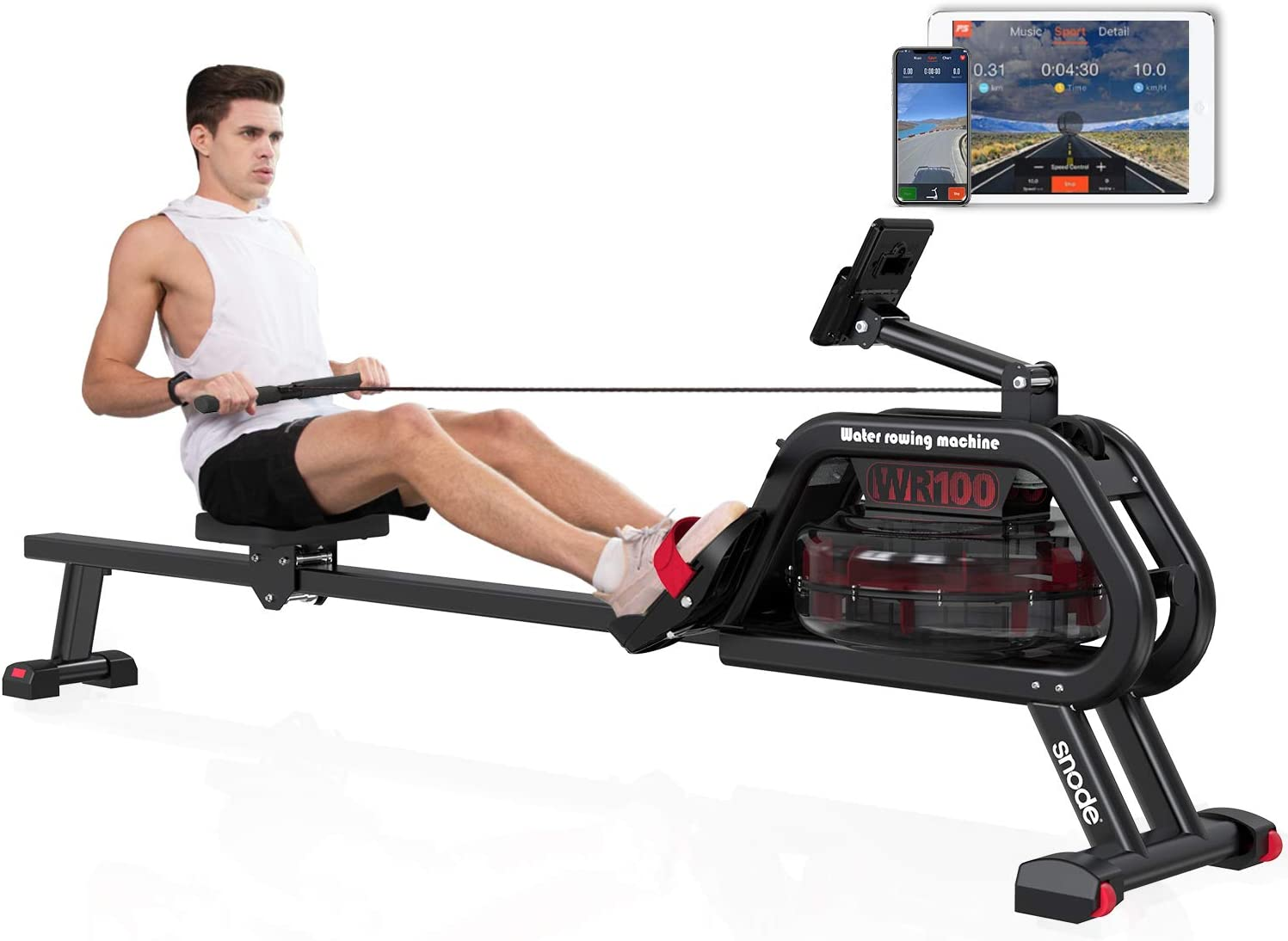 SNODE Water Rowing Machine with APP, Rowing Machine Indoor Exercise Rower 331Lbs Capacity, Soft Seat, Smooth Quiet Home Fitness Workout