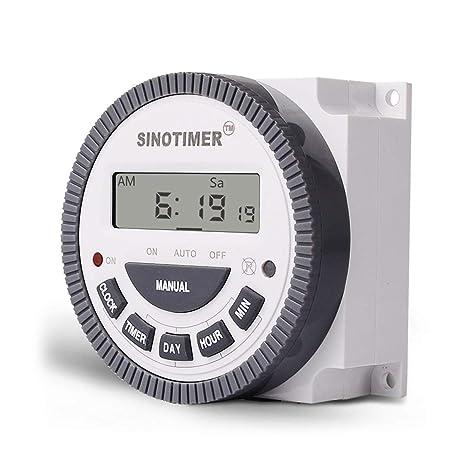 SINOTIMER 220V 10A Semanal 7 días Control programable del temporizador del relé del temporizador digital para