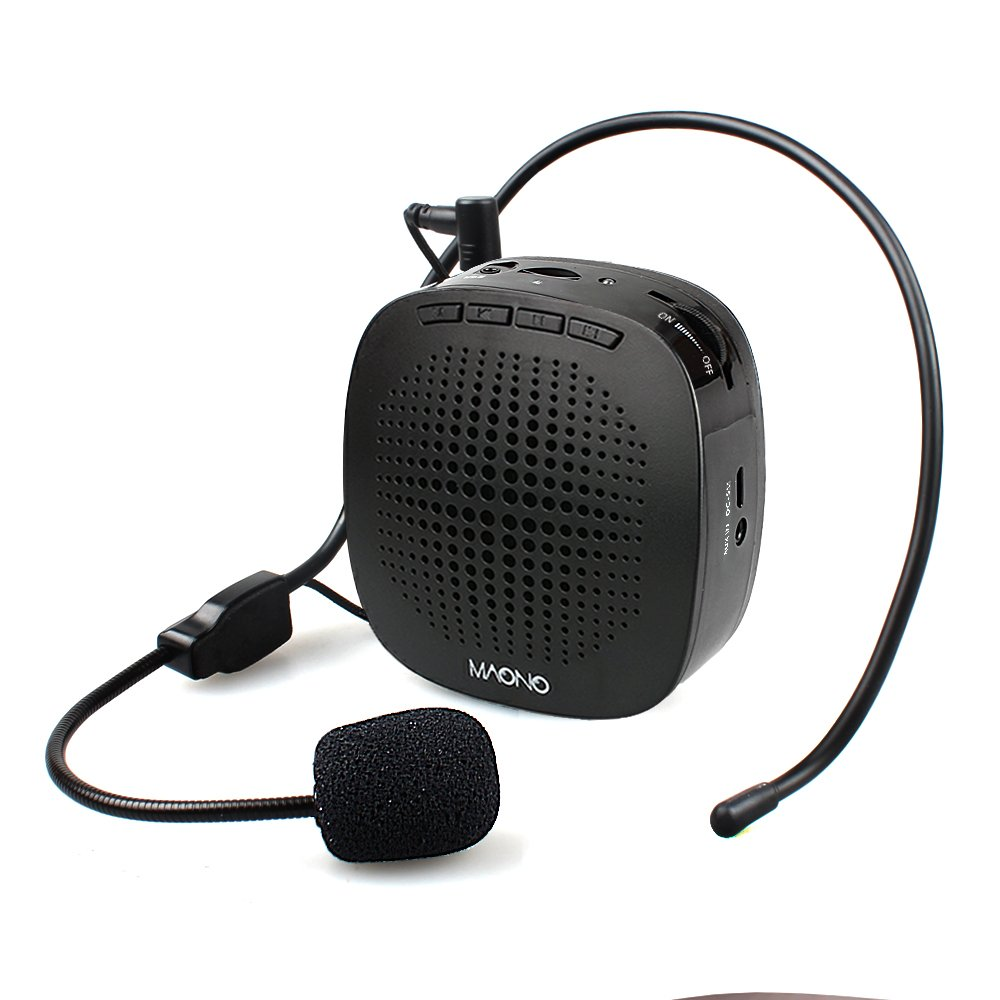 Voice Amplifier MAONO AU-C03 Ultralight(0.29 lb) Cardioid Portable Rechargeable Wired Microphone with Waistband,Support SD Card/AUX Input for Teachers, Coaches, Tour Guides, Market(Black) by MAONO
