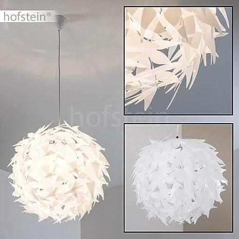 Suspension blanche DOKKKAS élégante avec support métal - Lustre de salon -  Compatible LED - Lampe pour chambre - Lampe ronde compatible avec les ...