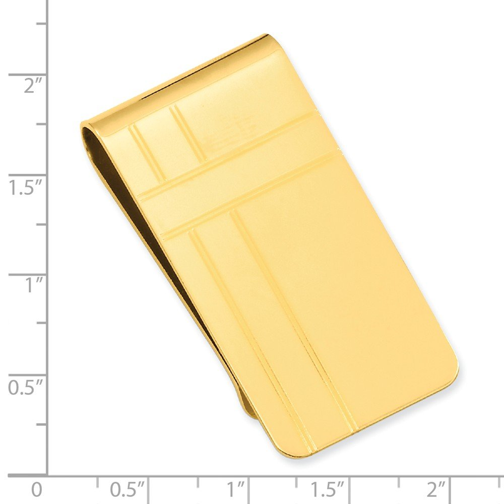 Gold-plated Kelly Waters Crisss Cross Pattern Engraveable Money Clip; 2.00 inch