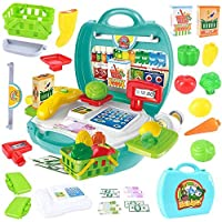Tabu Toys World Register Play Set - 23 Accessories - Educational Pretend Food and Mini market Toys with Scanner and Calculator