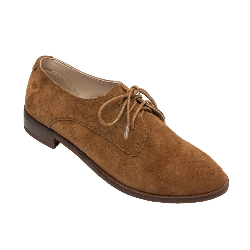 PIC/PAY Jonas -  Women's Lace-up Oxford - Classic Flat Leather Menswear Style Loafer Shoes Camel Suede 11M
