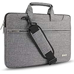 Hseok 3-Way 15-15.6 Inch Laptop Shoulder Bag Brifecase Water-Resistant Notebook Sleeve Case for MacBook Pro 15.4-Inch and Most 15-15.6 inch Dell/Ausu/Acer/HP/Toshiba/Lenovo,Gray