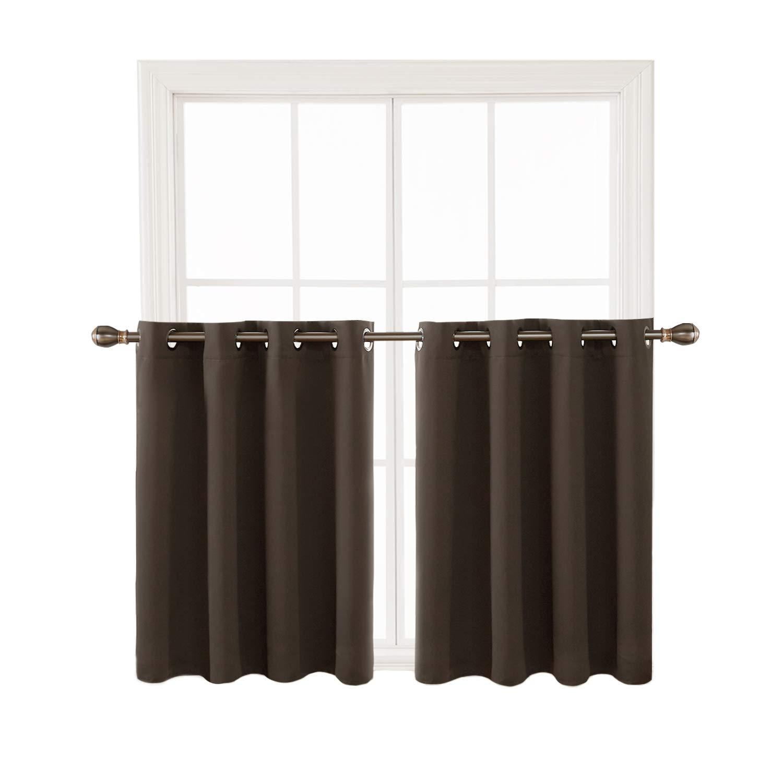 Deconovo Blackout Window Valance Kitchen Window Valances Curtain Valance for Window 52x36 Inch 2 Panels Brown
