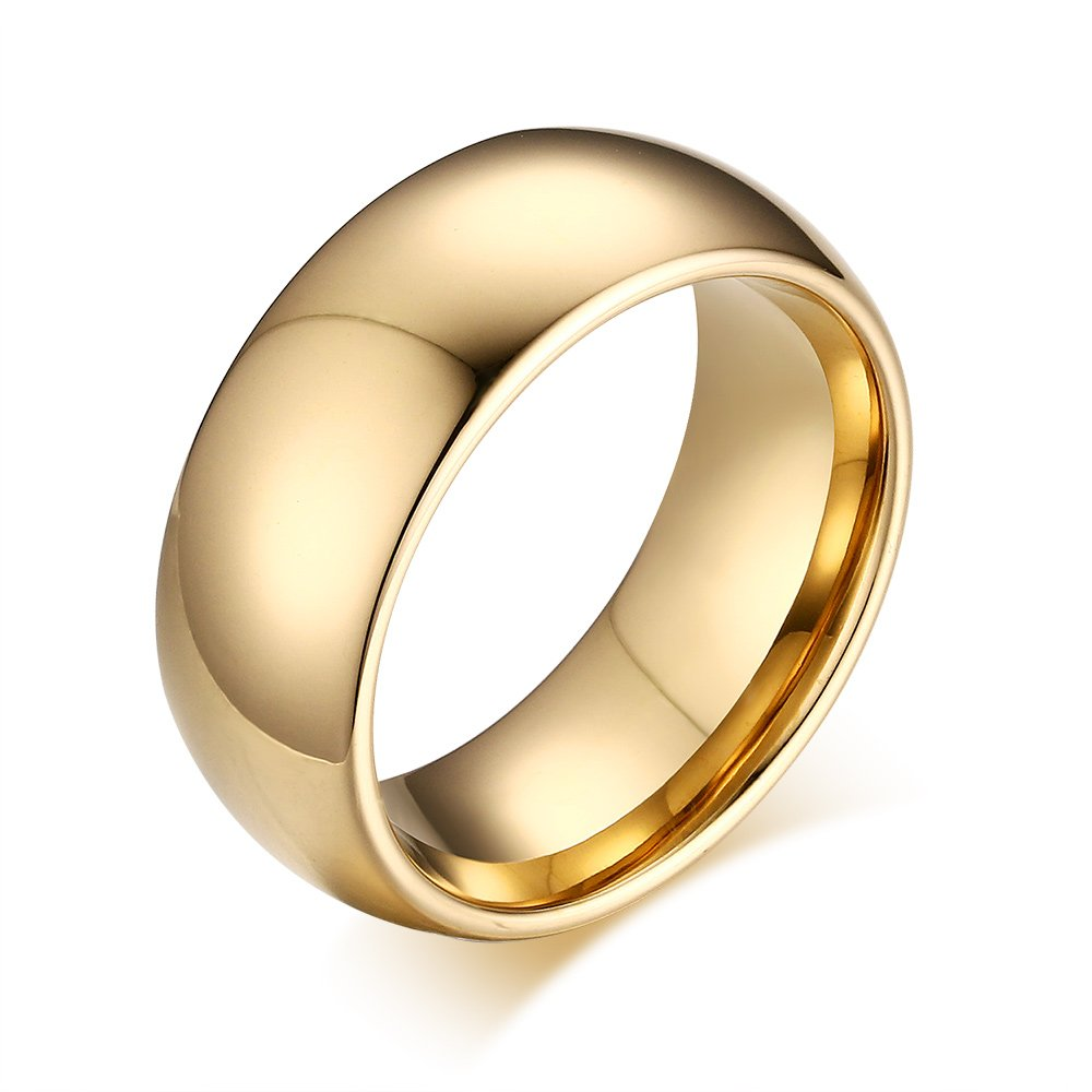 8mm Domed Tungsten Carbide Wedding Band Rings For Men Women Beveled Edge Comfort Fit Size 5-13 (gold(tungsten), 11)