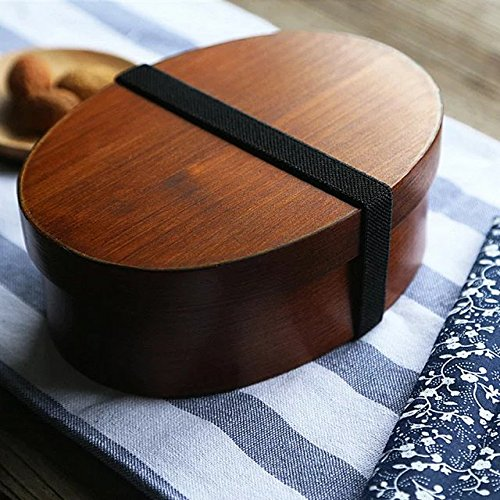 COFFLED Premium Wooden Bento Lunch Box,Portable Food Storage Container,Perfect Bento Box with Three Compartments