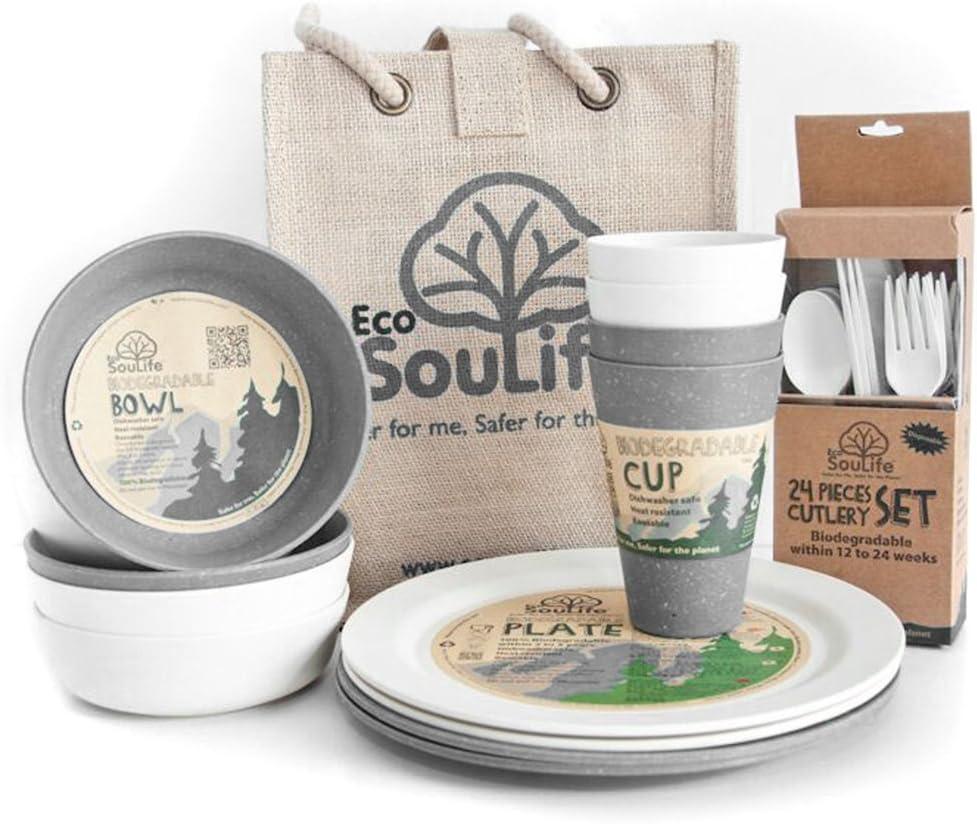 Eco SouLife Biodegradable 4 People Set de picnic: Amazon.es ...