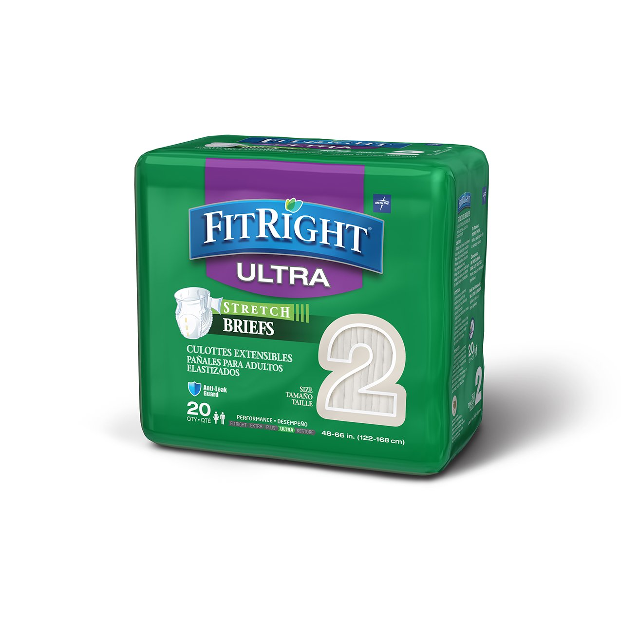 FitRight Stretch Adult Briefs with Tabs, Heavy Absorbency, Large, 48