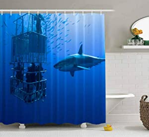 Tooperue Baby Shower Curtain, Shower Curtain for Bathroom with Hooks Great White Shark South Africa Atlantic Ocean Carcharias Gansbaai 78×72 Inch,Eco-Friendly,No Oder,Waterproof