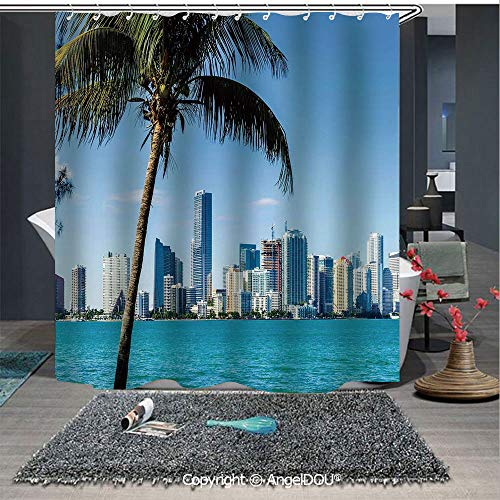 AngelDOU Coastal Decor Waterproof 3D Printed Shower Curtain Miami Downtown with Biscayne Bay Buildings and Palm Tree Panoramic for Home Bathroom Decoration -
