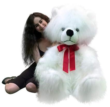 Amazon Com Big Plush American Made Giant White Teddy Bear Long Fur