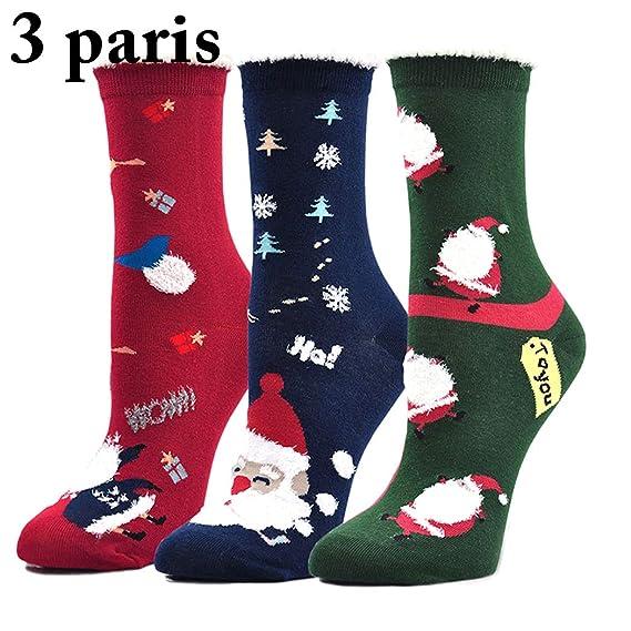 Zoylink 3 Pares Calcetines De Navidad Calcetines Altos Del Tobillo Calcetines De Algodón De Papá Noel Para Mujeres: Amazon.es: Ropa y accesorios