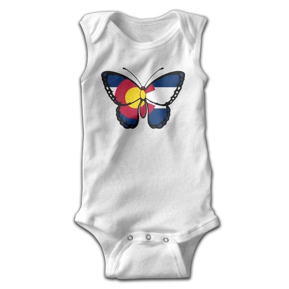 braeccesuit Colorado Flag Butterfly Infant Baby Boys Girls Crawling Clothes Sleeveless Onesie Romper Jumpsuit White