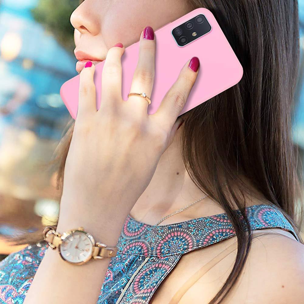 P/úrpura Cristal Templado Protector de Pantalla Funda para Samsung Galaxy A71 2 Pack E-Lush Caso Ultra Delgado Flexible Gel TPU Goma Case Cover Funda Galaxy A71 Carcasa Suave Silicona TPU,