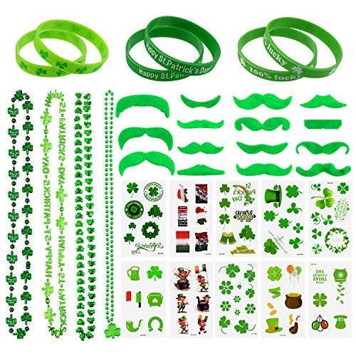 TUPARKA 45Pcs St. Patrick's Day Party Favor Set St Patricks Day Dressing-up Accessory Set,Including Shamrock Tattoos, Green Mustaches, Shamrock Beads Necklaces, Shamrock Rubber Wristbands -