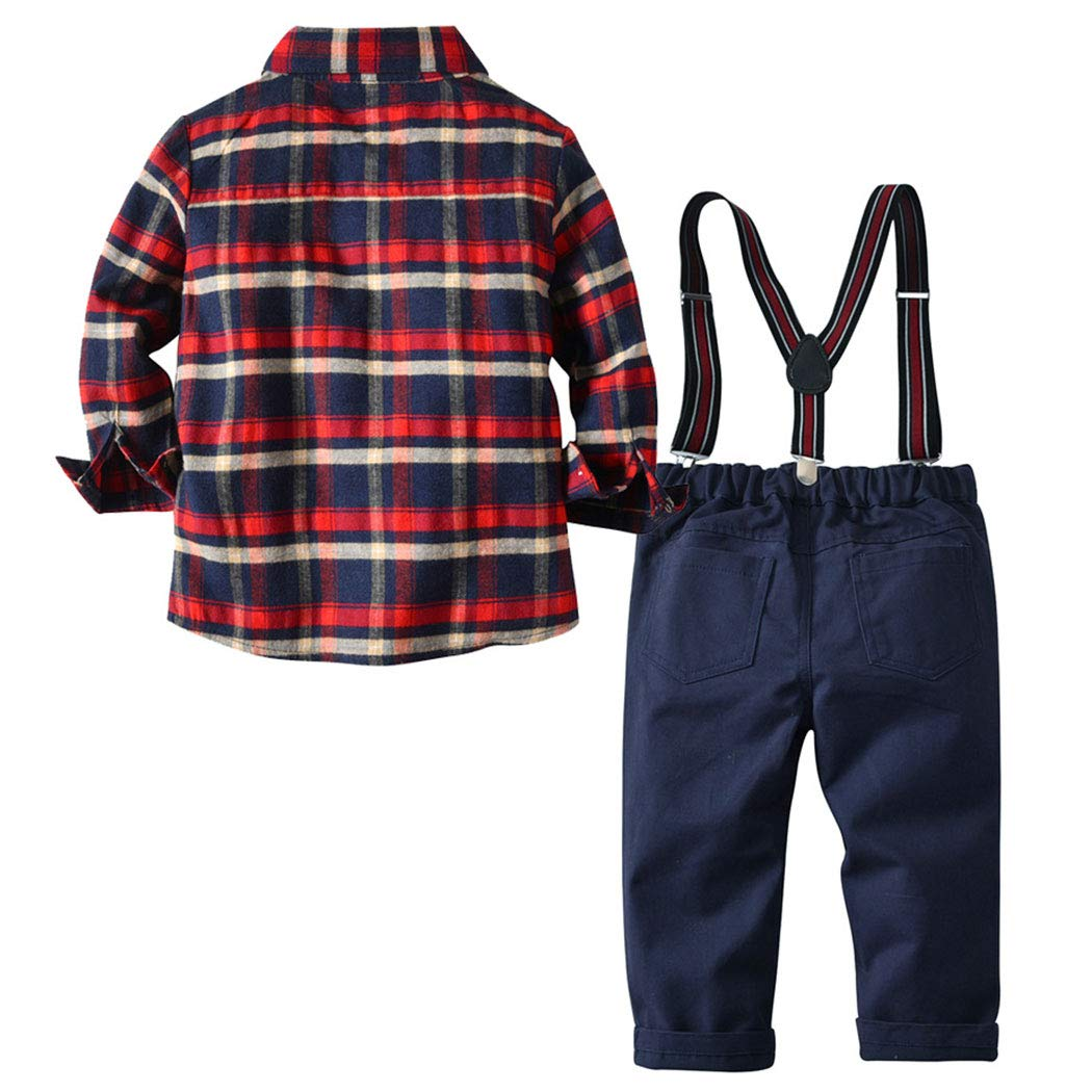 FCQNY Kids Boys Long Sleeve Plaid Button Down Shirt Tops+Suspender Pants 3Pcs