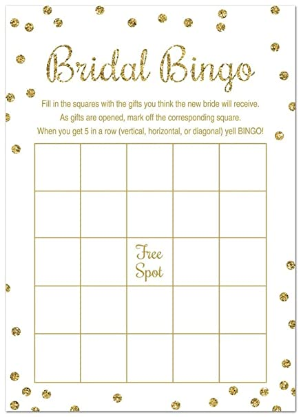 Amazon.com: 24 Cnt Bridal Shower Bingo Cards (Faux Gold Glitter on Pink)
