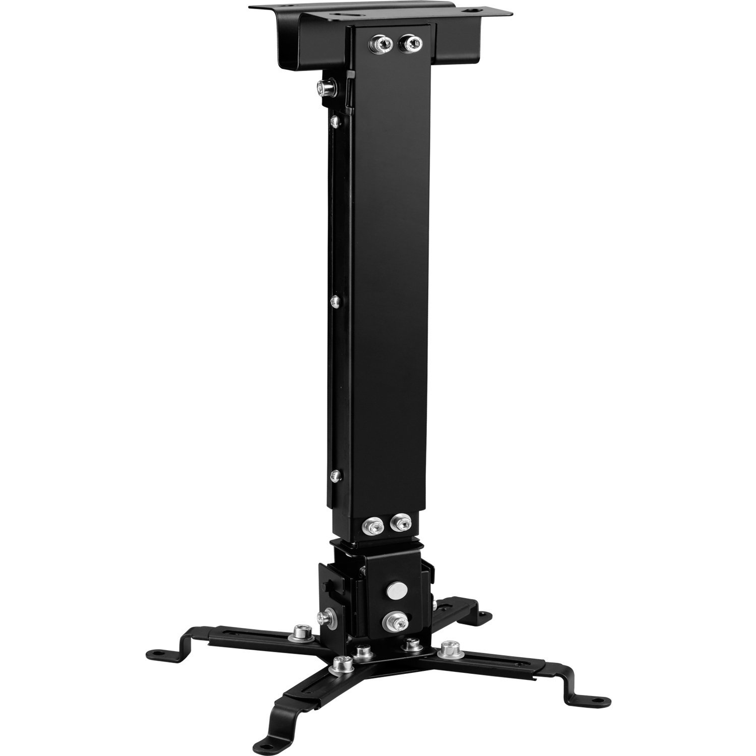 WALI Universal Multiple Adjustment Projector Flat Ceiling Mount Bracket with 25.6 inch Extension Pole, Hold up to 44 lbs. (PM-001-BLK), Black