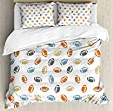 Football Duvet Cover Set King Size by Ambesonne, Colorful Balls in Retro Style National Sports College Team Field Game Touchdown, Decorative 3 Piece Bedding Set with 2 Pillow Shams, Multicolor