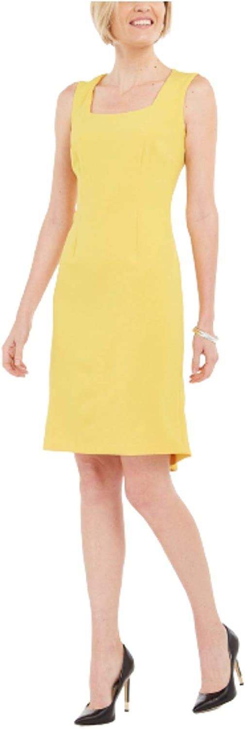 Kasper Women's Sleeveless Square Neck Sheath Back with Det Dress Special price for a limited time Max 68% OFF