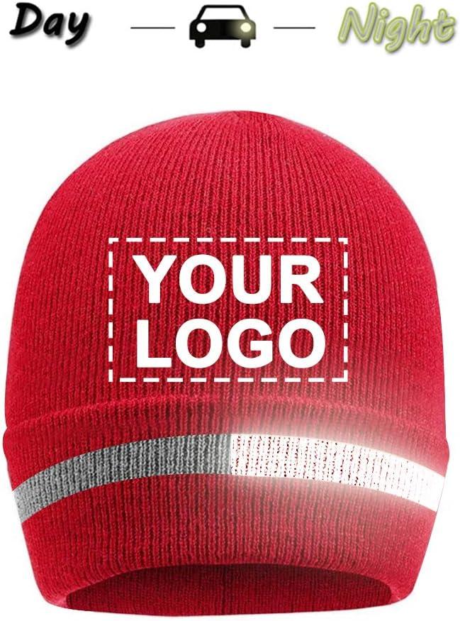 Red knit custom logo beanie with reflective stripe