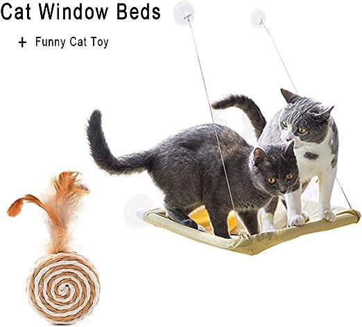 Sunny Seat cama para gato, ventana para gato, cama grande con diseño de hamaca con 2 divertidos juguetes para gatos, ventosas para asiento de ventana, todo alrededor de 360°, para cualquier gato,