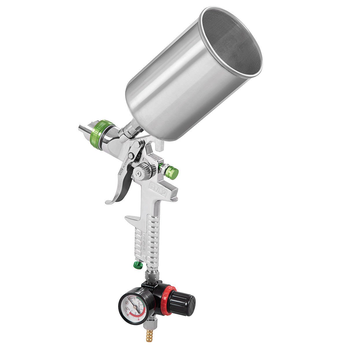 Goplus HVLP Gravity Feed Spray Paint Gun Kit 2.5mm Nozzle Size Aluminum Cup W/ Air Regulator