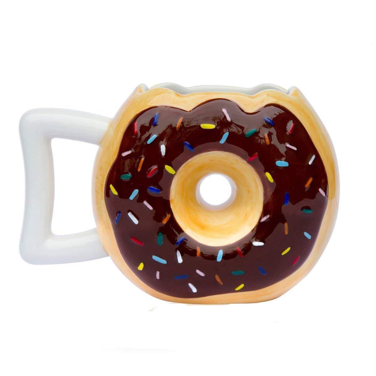 Ceramic Donut Mug - Delicious Chocolate Glaze Doughnut Mug with Sprinkles - Funny