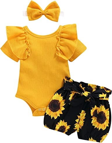 Floral Pants oufit Clothes Set with Headband Newborn Baby Girls Summer Shorts Sets Ruffle Sleeve Bodysuit