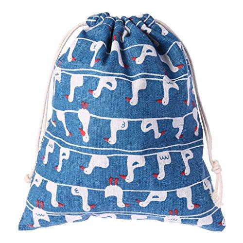 (LANDUM Duck String Drawstring Cotton Linen Tote Storage Bag Organizer Toys Gift Sport Blue M)
