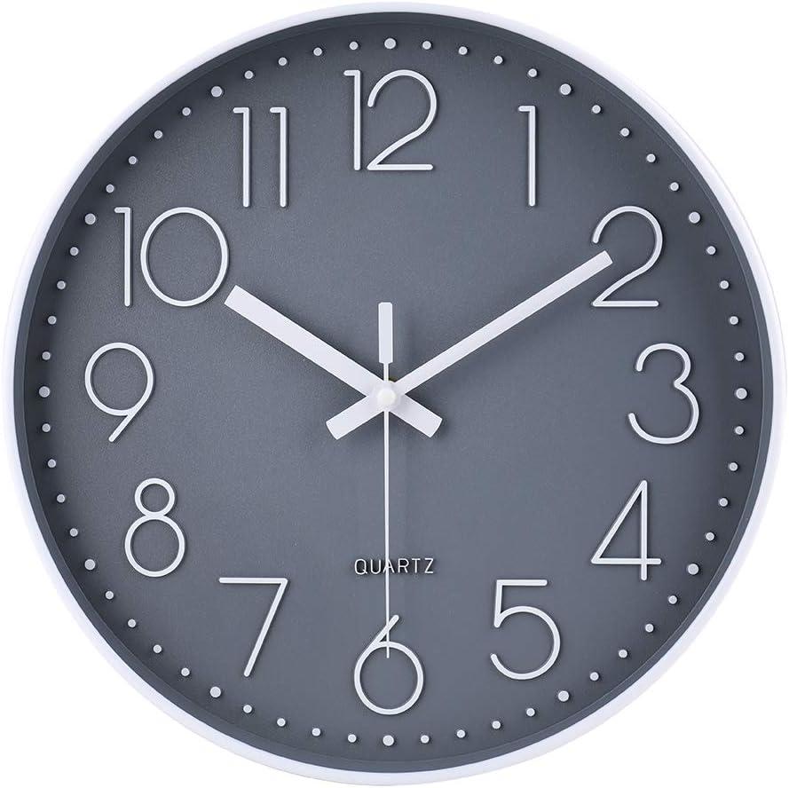 jomparis Reloj de pared moderno,grandes decorativos Silencioso interior reloj de cuarzo de cuarzo redondo No-ticking para sala de estar,Gris,Ø: 30 cm