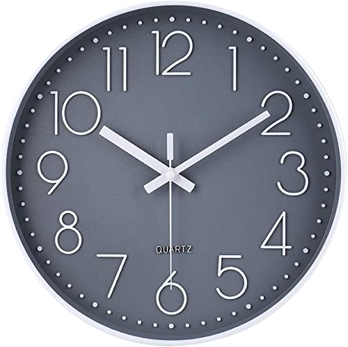 12 Inch Non-Ticking Wall Clock Silent Battery Operated Round Wall Clock Modern Simple Style Decor Clock