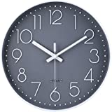 jomparis 12 Inch Non-Ticking Wall Clock Silent Battery Operated Round Wall Clock Modern Simple Style Decro Clock for…