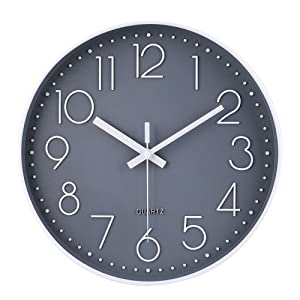 jomparis 12 Inch Non-Ticking Wall Clock Silent Battery Operated Round Wall Clock Plastic Frame Glass Cover (Gray)