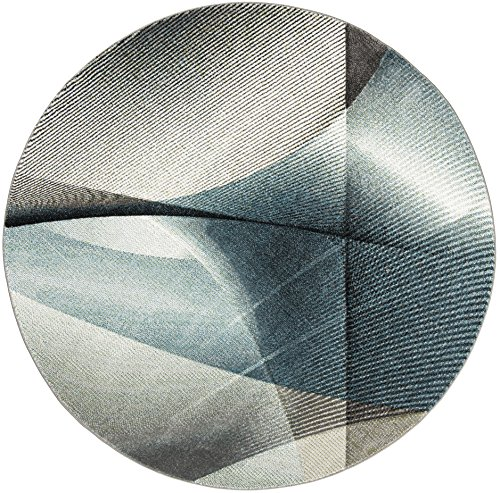 Safavieh Hollywood Collection HLW715D Grey and Teal Mid-Century Modern Abstract Round Area Rug (6'7 in Diameter)