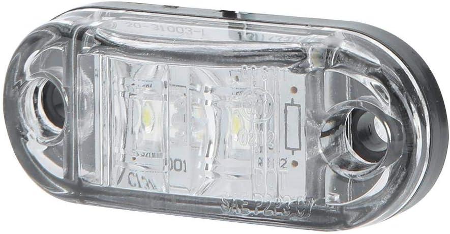 White 10pcs 2LED Side Light Turn Signal Indicator Lamp 10-30V Waterproof for Taillight Truck with Screw KIMISS 10-30V Side Marker