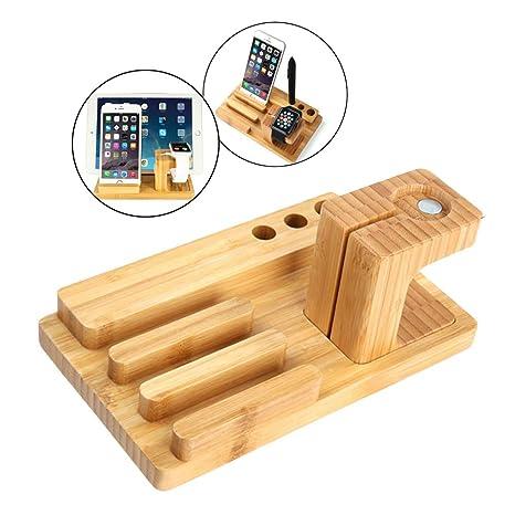 Amazon com: Wood Phone Docking Station, Walnut Desk
