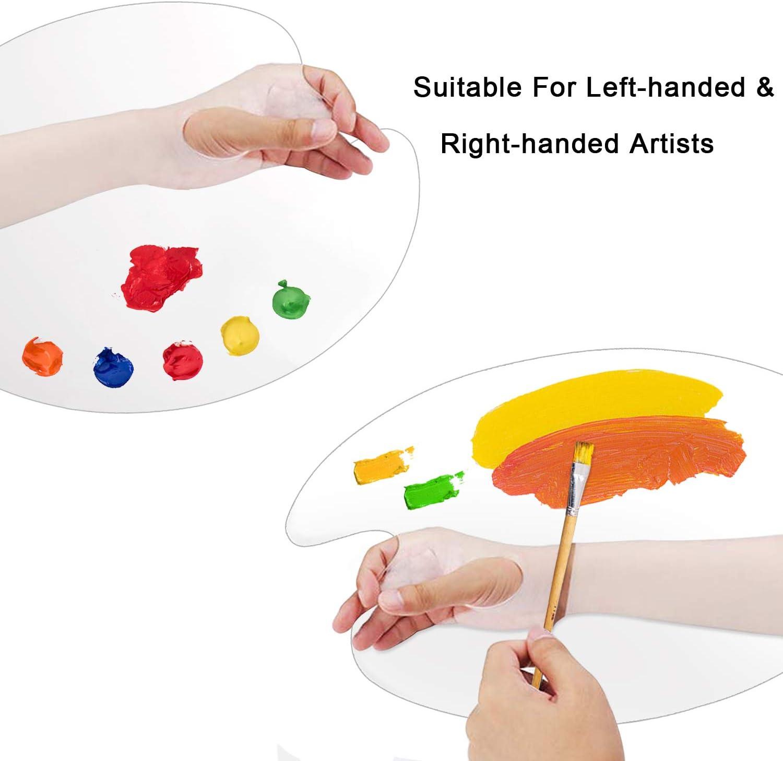Clear Plastic Paint Palettes Big Size Non-Stick Acrylic Palette Oval Artist Paint Mixing Palette for Acrylic Oil Paints Mixing 12 x15.7 Easy Clean