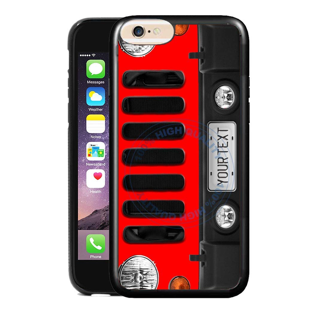 BRGiftShop Personalize Your Own SUV Bumper Car Grill Red License Plate Rubber Phone Case For Apple iPhone 6 Plus /& iPhone 6s Plus 5.5 Inches Screen