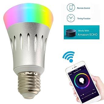 YUNI Smart WiFi Bulb Bombilla LED Alexa Smartphone Control remoto 7W RGB Bombilla Led E27 Alexa