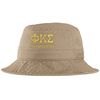 Express Design Group Men s Phi Kappa Sigma Fraternity Greek Letter Bucket  Hat In Khaki 73a8c4234dc